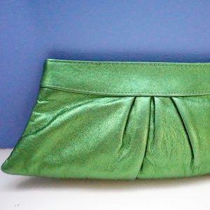 Lauren Merkin Green Metallic Leather Clutch NEW